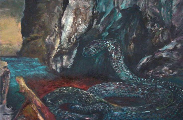 Tableau peinture serpent m lancolique - Peinture effet serpent ...